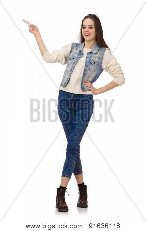 Young smiling girl isolated on white