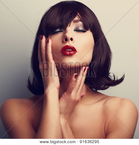 Beautiful Closed Eyes Woman Touching Face. Red Lipstick And Nails