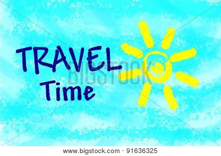 Travel time text on light blue background