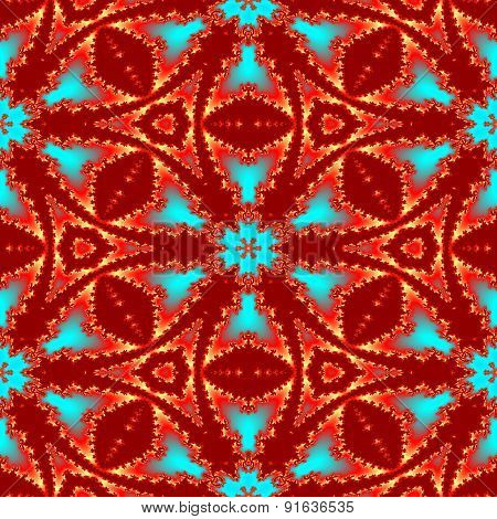 Seamless Abstract Red Fractal Pattern For Christmas Design