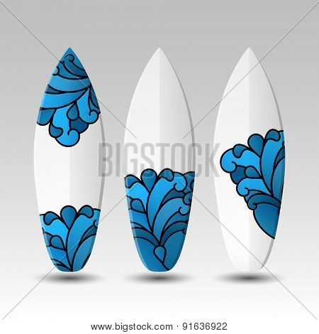 Surfboards Design Template with Wave Pattern
