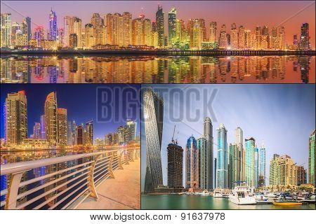 Collage of the beauty panorama at Dubai marina.