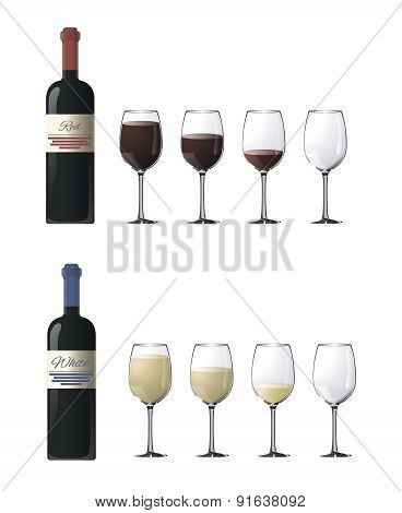 Bottles of red and white wine with glasses isolated