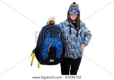 Young optimistic girl with rucksack isolated on white