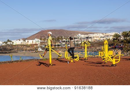 Fitness Spot In Playa Blanca At The Coast