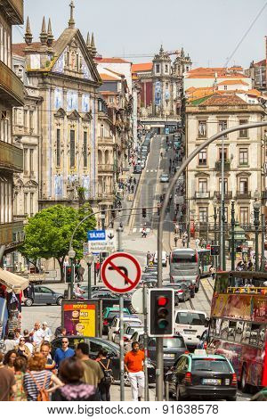 PORTO, PORTUGAL - CIRCA MAY, 2015: One of the streets in the Porto Old town. UNESCO recognised Old Town of Porto as a World Heritage Site in 1996.