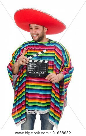 Funny mexican with clapper-board isolated on white