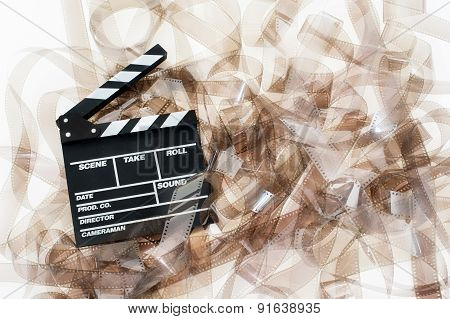 Clapper On 35Mm Movie Unrolled Filmstrip Texture