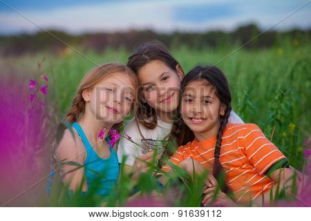 group healthy happy kids smiling