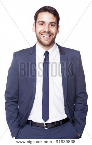 Portrait of a handsome business man, isolated on white background