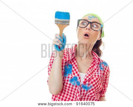 Funny Surprised Woman Painter Holding Paint Brush, Girl Ready For Renovating Or Painting, Isolated O