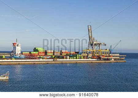 View To Harbor Of  Puerto Naos In Arrecife, Spain