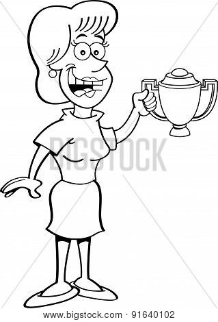 Cartoon women holding a trophy.