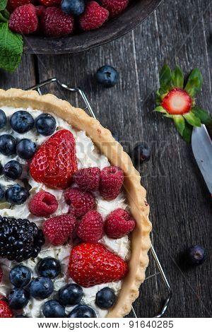 Homemade Tart With Fresh Berries Summer Fruit