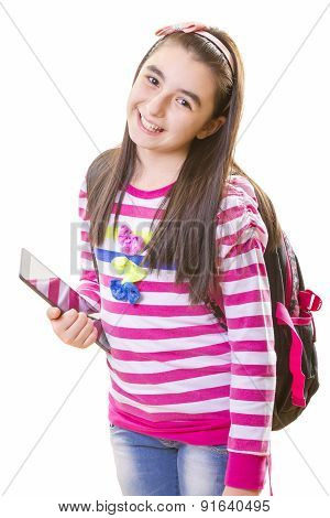 Beautiful Teenager Girl with Backpack and Digital Tablet