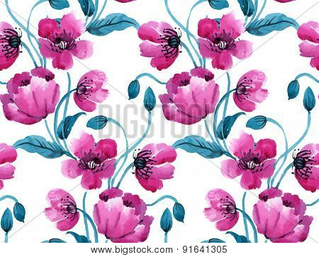 Watercolor vector seamless pattern with poppies