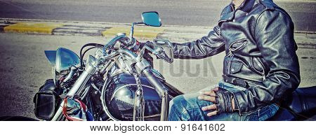 Vintage Biker And Classic Motorcycle