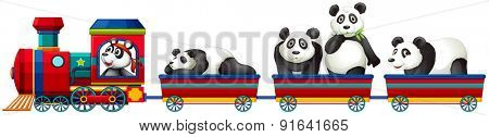Cute panda riding on red train