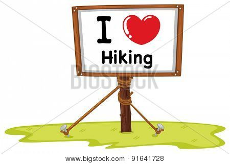 I love hiking sign in wooden frame