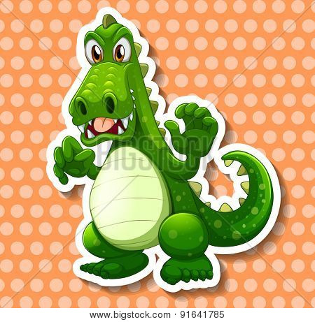 Closeup green dragon on polka dot background