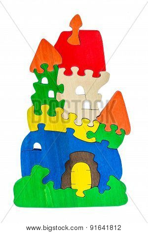 Wooden colorful castle puzzle toy made of colour blocks