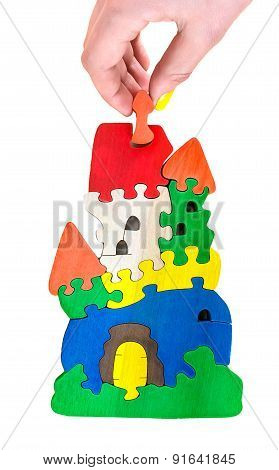 Wooden Castle Puzzle Toy Made Of Colour Blocks