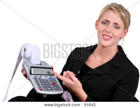 Business Woman Stressed With Calculations Over White