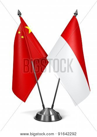 China and Indonesia - Miniature Flags.
