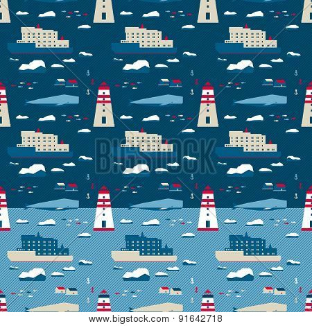 Seamless Pattern. Whale And Lighthouse