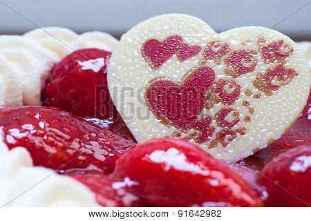 Cake With Strawberry Heart Shape Chocolate