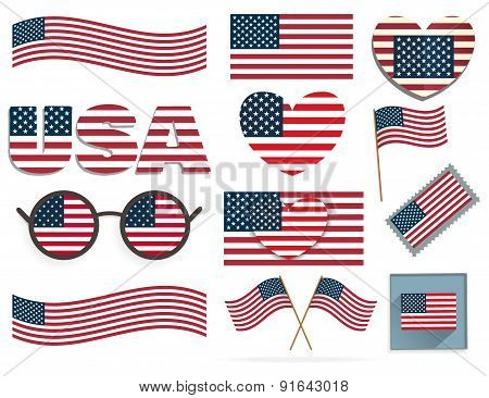 Set Of American Flags And Hearts
