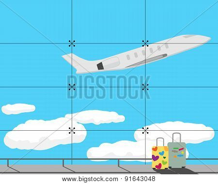 Veiw from window airport sky and the plane. Vector illustration