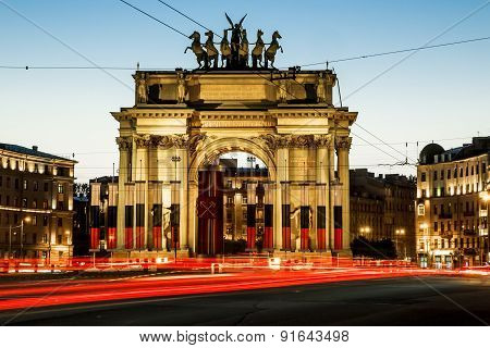Narva Triumphal Gate At Stachek Avenue In St. Petersburg In The Evening Illumination.russia