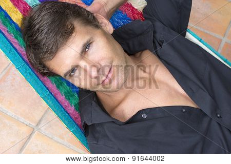 Sexy Handsome Man Relaxing