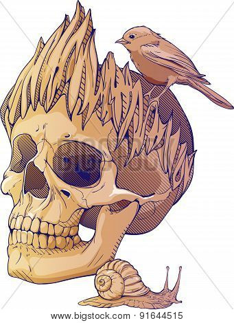 colorful illustration with skull, bird and snail