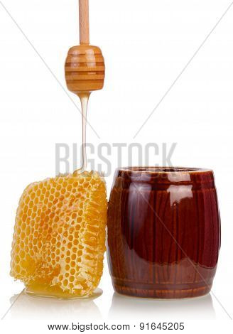 Honey jar with dipper and honey