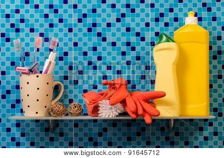 Cleaning products on the shelf