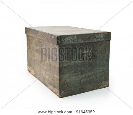 Very old iron or tin metal storage trunk with handle, isolated on white.
