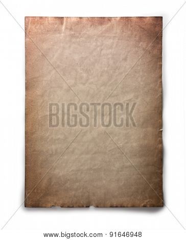 Old paper with ancient tone isolated on white with natural shadows.