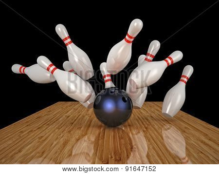 3d image of bowling ball and skittle
