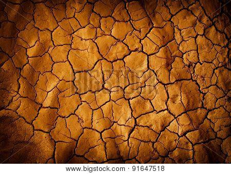 Cracked earth in dry desert