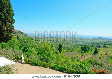 Beautiful Landscape Seen From San Gimignano