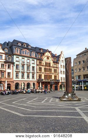 Old Buildings With Beautiful Facades At The Market Square In Mainz, Germany