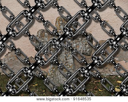 Iron Chain With Cross At Cemetery