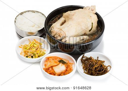 Chicken boiled with ginseng roots, rice and spicy salads. From a series of Food Korean cuisine.