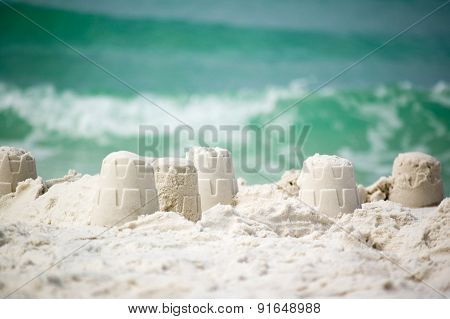 Sandcastle on the ocean coast