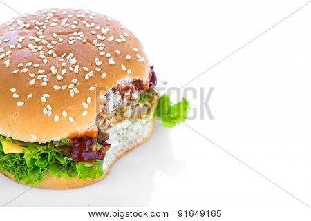 Hamburger on white background