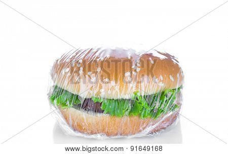 Wrapping Hamburger on white background