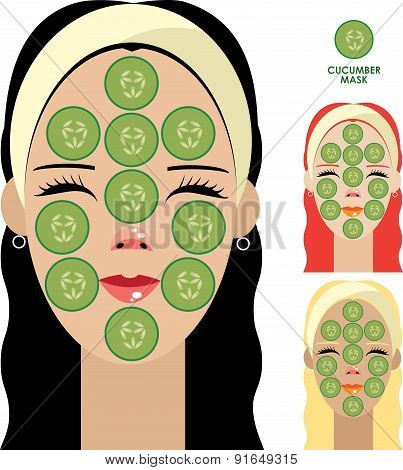 Women With Facial Mask Of Cucumber Slices