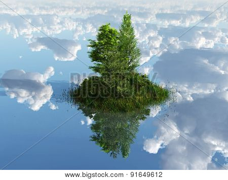 green island surrounded by clouds